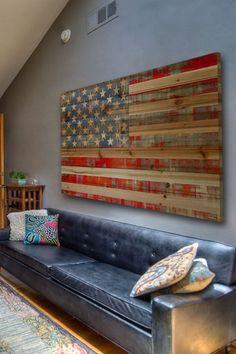 Cal Repub Brown Distressed Wood Wall Art by Parvez Taj on My heart is pulling me to buy this for my living room. Distressed Wood Wall, Reclaimed Wood Art, Diy Wood, Weathered Wood, Recycled Wood, Cuadros Diy, American Flag Decor, American Flag Pallet, American Art