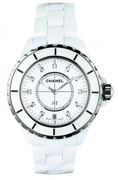 Chanel J12 White Ceramic Diamonds Quartz Ladies Watch; Mother of pearl dial with silver-tone hands and diamonds hour markers. $5,200 USD