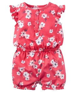 Baby Girl Floral Flutter-Sleeve Romper from Carters.com. Shop clothing & accessories from a trusted name in kids, toddlers, and baby clothes.