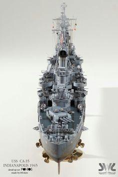 USS Indianapolis Portland class heavy cruiser built by master modeler Kim hyun-soo, South Korea. Scale Model Ships, Scale Models, Uss Indianapolis, Model Warships, Heavy Cruiser, Model Hobbies, Military Diorama, Model Train Layouts, Navy Ships