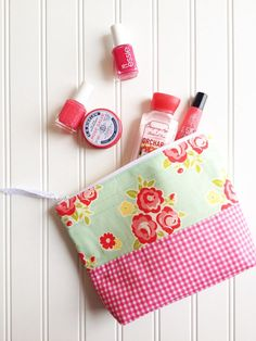 Pink  Gingham Floral Zipper Pouch Ladies zipper pouch by SewEMG