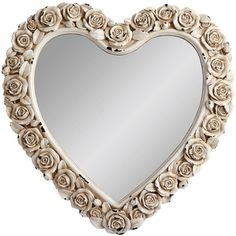 Gallery Heart Shaped Mirror With Rose Detail ($100) ❤ liked on Polyvore featuring home, home decor, mirrors, mirror, fillers, frames, backgrounds, heart mirror, silver mirror and gallery mirrors