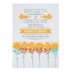 Garden - Backyard Orange Floral Wedding Invitation