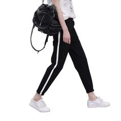 d1b364f3411b8 2017 Top Fashion Women Side Striped Harem Pants Women Black Casual High  Waist Pants Drawstring Loose