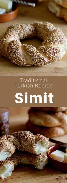 Simit is a Turkish ring-shaped bread made with a thick crust of sesame seeds, also called gevrek or koulouri, and nicknamed Turkish pretzel. Turkish Simit Recipe, Turkish Recipes, Romanian Recipes, Scottish Recipes, Turkish Food Traditional, Good Food, Yummy Food, Eastern Cuisine, How To Make Bread