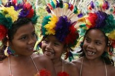 Young girls that live in the Amazon forest of Brazil