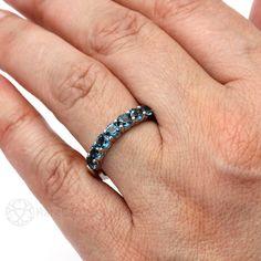 London Blue Topaz Ring Anniversary Band Blue Gemstone by RareEarth
