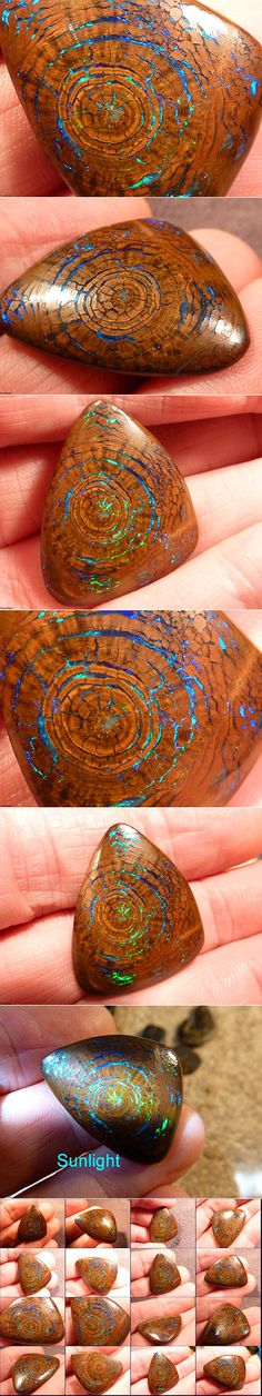 There is an endless bounty of eye-catching gemstones throughout the world and this spectacular boulder opal is one unique beauty that looks like a shimmering crystal encased in a tree fossil. Its opalescent sheen seeps through the cracks of the seemingly wooden rings in lustrous hues of emerald green and aqua blue. Like something out of a fairy tale, the triangular piece radiates through an organic pattern mimicking the growth rings of tree.
