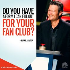 """The Voice fan club you ask? Pin this to """"sign up."""" Blake Shelton asked  - we delivered."""