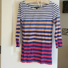 American eagle top like new! 100% cotton. White, peach, magenta and navy blue stripes! No holes or pulls American Eagle Outfitters Tops Tees - Long Sleeve