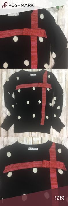 """{Peter Jensen} Urban Outfitters holiday sweater! The perfect holiday sweater! Cute and sophisticated.  By Peter Jensen for UO Black with white polka dots  Raised red bow  Approx measurements:  - length: 22""""  - pit to pit: 14.5""""  - arms: 24"""" Acrylic/wool/lurex Hand wash cold Urban Outfitters Sweaters Crew & Scoop Necks"""