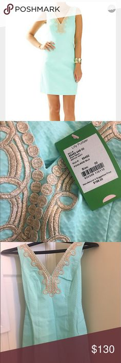 Lilly Pulitzer dress! Bentley shift, poolside blue Brand new poolside blue Bentley shift dress, perfect for summer! Style #95492 Lilly Pulitzer Dresses Mini