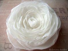 Wedding Hair Flower  Ivory Chiffon Double Rose by RainwaterStudios, $25.00