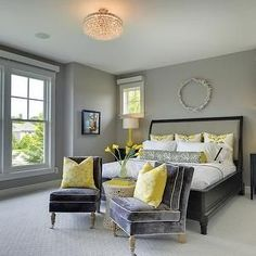 Grey and yellow master bedroom ideas view in gallery add a couple of throw pillows to . grey and yellow master bedroom ideas Yellow Master Bedroom, Black And Grey Bedroom, Grey Bedroom Design, Bedroom Paint Colors, Bedroom Color Schemes, Yellow Bedrooms, Bedroom Designs, Master Bedrooms, Small Apartment Bedrooms
