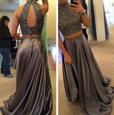 Dark grey 2 pieces prom dress