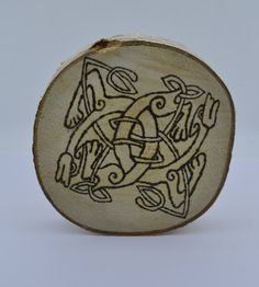 Wooden celtic coaster with dogs. For a mug by ArchdeansMagicShop