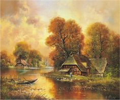 """Stretched Classical Paintings Urban Landscape Painting, Size: 36"""" x 24"""", $104. Url: http://www.oilpaintingshops.com/stretched-classical-paintings-urban-landscape-painting-2134.html"""