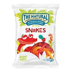 A box of 12 bags of The Natural Confectionery Company Jelly Snakes Lollies. Each bag weighs approximately 200 grams.