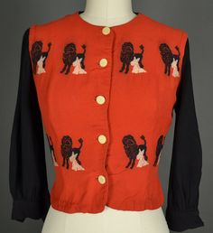 vintage 1940s blouse 40s blouse crepe With Embroidered Dogs !!