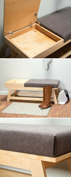 How to build a DIY Bench with Built-In Storage | Free printable project plans at buildsomething.com | Whether you need seating in a hallway, a bedroom, or even your living room, this bench makes a beautiful addition. The upholstered cushion is comfortable and allows lots of customization options, and the storage compartment is handy. We made ours from four maple boards and a half sheet of plywood.