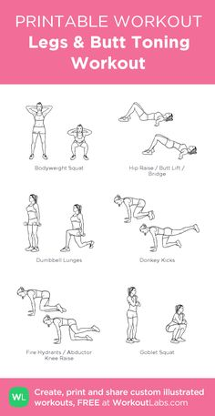 Legs Butt Toning Workout – my custom workout created at WorkoutLabs.com • Click through to download as printable PDF! #customworkout