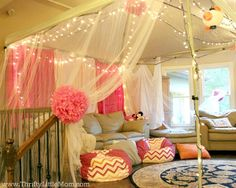5 Ideas for an Epic Indoor Movie Party at Your House Set up tailgate tent inside & cover with tulle Adult Slumber Party, Sleepover Birthday Parties, Girl Sleepover, Birthday Party For Teens, 10th Birthday, Birthday Ideas, Sixteenth Birthday, Happy Birthday, Indoor Movie Night
