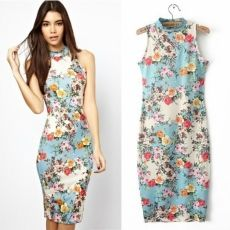 Women Floral Printed Sleeveless Clubwear Party Coc...