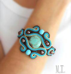 'Simply' ooak soutache bracelet, artistic bracelet, jewelry artwork, original, unique design, modern bracelet, bohemian bracelet, ethnic bracelet, blue bracelet