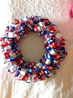 Red white and blue ribbon wreath. First one I made