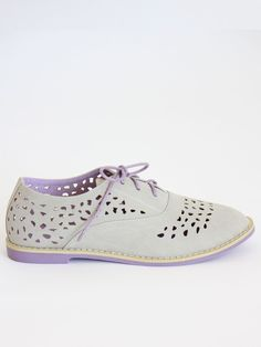 Gray & lavender perforated oxford flats $55