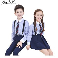 d429b79d7 US $17.79 11% OFF|ActhInK 2016 New Child Striped School Uniform for Boys  and Pretty Style Girls Students Blue Dress with Shirt Kids Uniform, ...