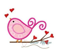 Love Bird Applique - 3 Sizes! | What's New | Machine Embroidery Designs | SWAKembroidery.com Dollar Applique