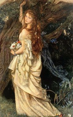 "Arthur Hughes (British Pre-Raphaelite painter) 1832 - 1915, Ophelia ('And Will He Not Come Again?'), 1863-71, oil on canvas, 59.5 x 94.5 cm. (23.43"" x 3' 1.2""), Toledo Museum of Art, Toledo, Ohio, United States"
