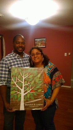 Rustic Wooden Multicolor Wedding Tree Canvas | Guest Book Alternative | Rustic Wedding | Customer Photo | Wedding Colors - Green & Red | peachwik.com