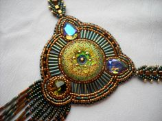 Bead Embroidery necklace green gold olive  by PreciousHeartBeads, $165.00