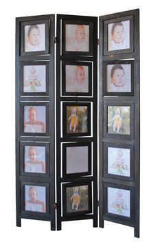 A.M.B. Furniture & Design :: Room Divider Screens :: 3 panel double sided black finish wood photo frame room divider screen with swivel frames