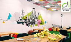 I like the mixed media approach, using wheat pasted elements as well as paint Office Mural, Office Artwork, Office Walls, Creative Office Space, Cool Office, Office Ideas, Ceiling Design, Wall Design, Design Design