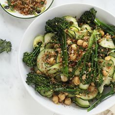 Garlicky broccolini with warmed chickpeas over a bed of Parmesan zucchini noodles, topped with gremolata breadcrumbs.