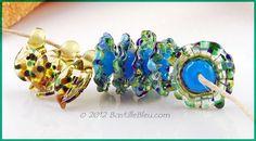 $48 Water Lillies Set - Handmade lampwork art beads, jewelry & supplies by Bastille Bleu Lampwork