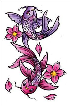 Pisces tattoos for women 40 pisces tattoo design ideas for Purple koi fish