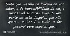 Sinto que mesmo na loucura do não saber, e da impossibilidade do ser, o impossível se torna somente um ponto de vista daqueles que não querem sonhar. E o sonho se faz possível para aqueles que... — Aristoteles Marques B. Neto