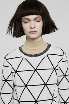 Monochrome sweater with tesselating triangle print; geometric fashion details // Chinti and Parker A/W 2013