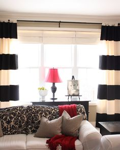 The Yellow Cape Cod: Bold Striped DIY Drapes - could these (with blue stripes) work in my living room?