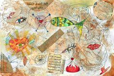 """Loredana Raciti: """"Cuori Globali"""", cm 90x60, disegno matita acquerello in arte digitale plex- alluminio."""