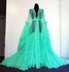 Soft Creamy Pistachio Sheer Dressing Gown Burlesque DLish