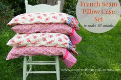 Make yourself a set of Pillowcases with French Seams in under 30 minutes! These are so cute! FREE Pattern available at SmashedPeasandCarrots.com --- Grab supplies at Joann.com