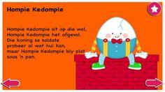 Hompie Kedompie - Kinderrympies in Afrikaans Child Development, Personal Development, Grade R Worksheets, Afrikaans Language, Kids Poems, Rhymes For Kids, School Projects, Life Skills, Book Lovers