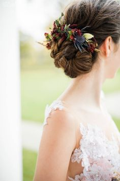 Flower Bridal Hairstyle, Fall Wedding Hair and Makeup Fall Wedding Hairstyles, Bride Hairstyles, Down Hairstyles, Flower Hairstyles, Brunette Hair Cuts, Brunette Makeup, Wedding Hair And Makeup Brunette, Brunette Beauty, Wedding Hair Half