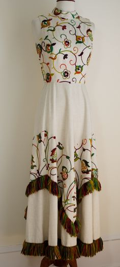 Hippie Ethnic Embroidered Maxi Dress @ www.vintagevirtuosa.com $225.00 #EmbroideredDress #1970's #FringeDress