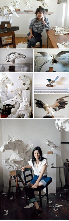 Anna-Wili Highfield in her art studio workspace of animal paper sculptures.